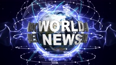 WORLD NEWS Text Animation and Earth, Loop, 4k - stock footage