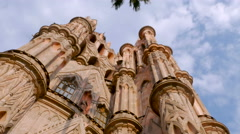 Low angle of the Parroquia church in San Miguel de Allende, Mexico Stock Footage
