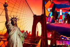 Liberty Statue and New York American Symbols - stock photo