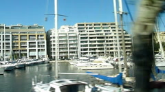 LA VALLETTA - Yachts in port, shot from bus Stock Footage