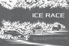 Ice race card - stock illustration