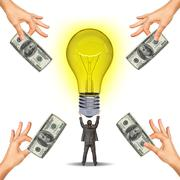 Idea concept with businessman holding light bulb - stock photo