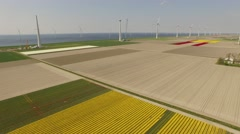 Offshore and onshore wind park in the netherlands near Amsterdam Stock Footage