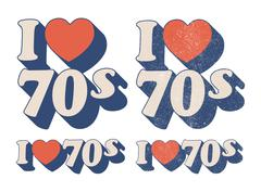 I Love 70s - stock illustration
