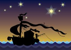 Dreamy boat silhouette Stock Illustration