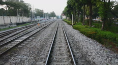 Moving train point of view footage Stock Footage