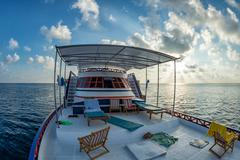 maldives tropical paradise beach crystal water white sand beach coconut tree  - stock photo