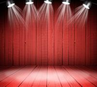 Illuminated empty concert stage - stock illustration