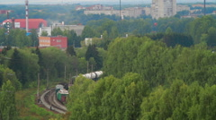 Aerial view Train with Cargo Carriages - stock footage