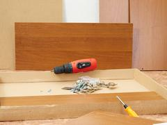 Tool and furniture for self-Assembly. - stock photo