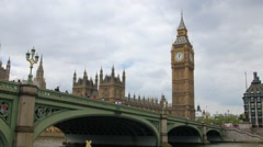 The Big Ben by Westminster bridge in London - stock footage