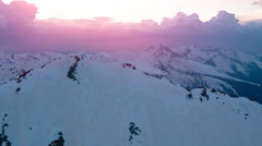 Winter Mountain Sunset Landscape Aerial Stock Footage