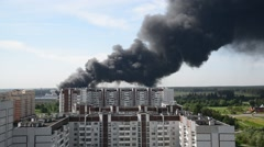 Black smoke from a major fire in Moscow, Russia Stock Footage