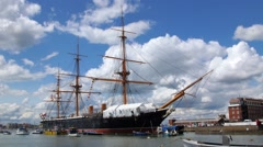 Historic battleship in Portsmouth harbour Stock Footage