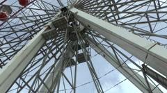 Big Towering Ferris Wheel Turning Stock Footage