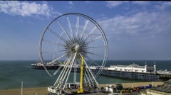 Brighton wheel being dismantled - stock footage
