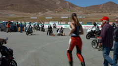 Motorcycle Race Track Fans Stock Footage