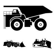 Symbol and a bulldozer and dump truck - stock illustration