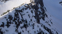Beautiful Mountain Range Aerial Flight Over Rocks And Peaks Winter Landscape Stock Footage