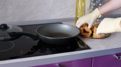 Cook Puts The Fish Steaks Into The Pan Stock Footage