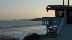 Life Guard at Malibu Beach Sunset Stock Footage