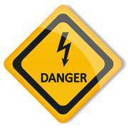 Vector illustration label electricity hazard - stock illustration