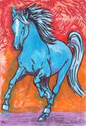 The Blue Horse Stock Illustration