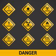 Vector illustration set label danger - stock illustration