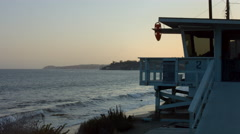 Malibu Beach Sunset with Lifeguard Station Stock Footage