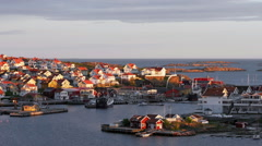 Fishing village Kungshamn on the Swedish west coast (district Bohuslan). During Stock Footage
