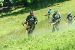 Workers Mowing The Grass In Springtime In Youths Public Park (Tineretului Park) - stock photo