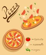 Pizza on the board and ingredients Stock Illustration