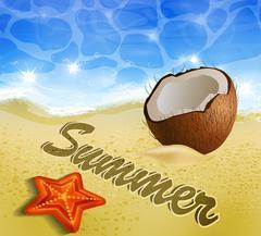 Beautiful beach top view - stock illustration