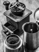 Moka express coffee pot and grinder Stock Photos