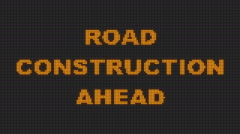 Digital Road Sign Displays- Road construction ahead Stock Footage