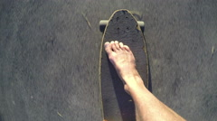 Barefoot skateboarding point of view (POV) Stock Footage