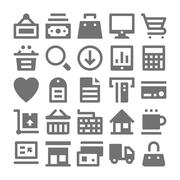 Shopping and Retail Vector Icons - stock illustration