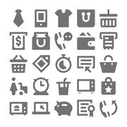 Shopping and Retail Vector Icons set - stock illustration