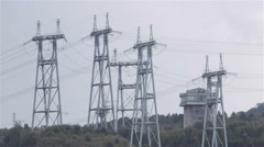 Power Pylons At The Hydro Power Plant in Krasnoyarsk. Russia Stock Footage