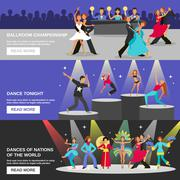 Dance Banner Flat - stock illustration