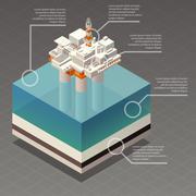 Isometric oil platform rig infographic Stock Illustration