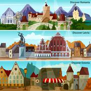 European Cityscapes Banners Set Stock Illustration