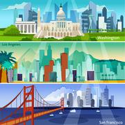 American Cityscapes Banners Set Stock Illustration