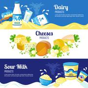 Milk And Cheese Horizontal Banners - stock illustration