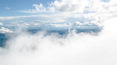 Aerial Mountains Taiga Clouds Fog Scenery Travel Nature Footage Beauty Idyllic - stock footage