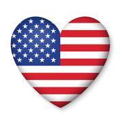 American United States Flag in glossy heart button of icon - stock illustration