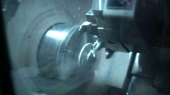 Processing of metal parts on a lathe. Close-up Stock Footage