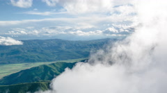 Clouds Aerial Mountains Covering Idyllic Scenic Air Weather Vacation Siberia Stock Footage