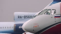 Close up of cockpit aircraft airplane ssj100 - stock footage