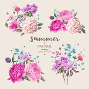 Set vintage floral vector bouquet of peonies - stock illustration
